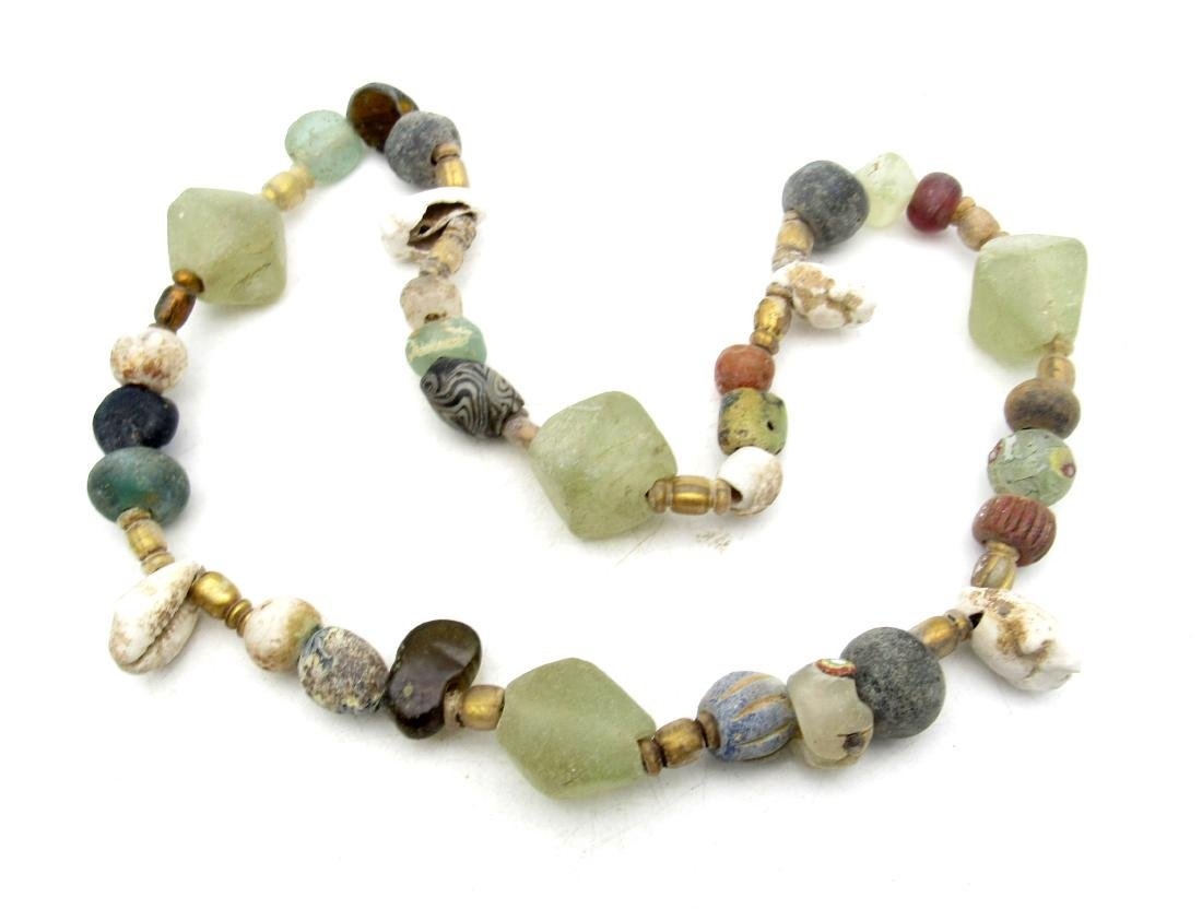 Viking Coloured Glass and Sea Shell Necklace
