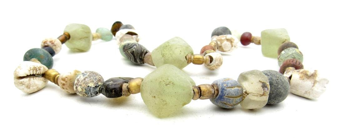 Viking Coloured Glass and Sea Shell Necklace - 2