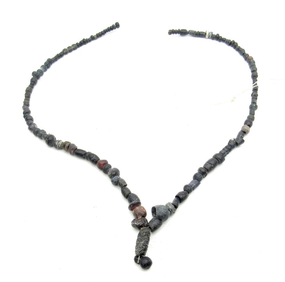 Roman Black Glass/Stone Necklace - 100+ Beads