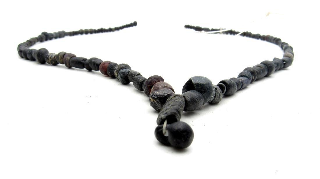 Roman Black Glass/Stone Necklace - 100+ Beads - 2