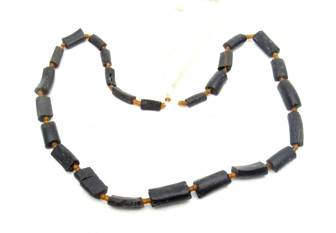 Medieval Black Glass Necklace - 26 Beads