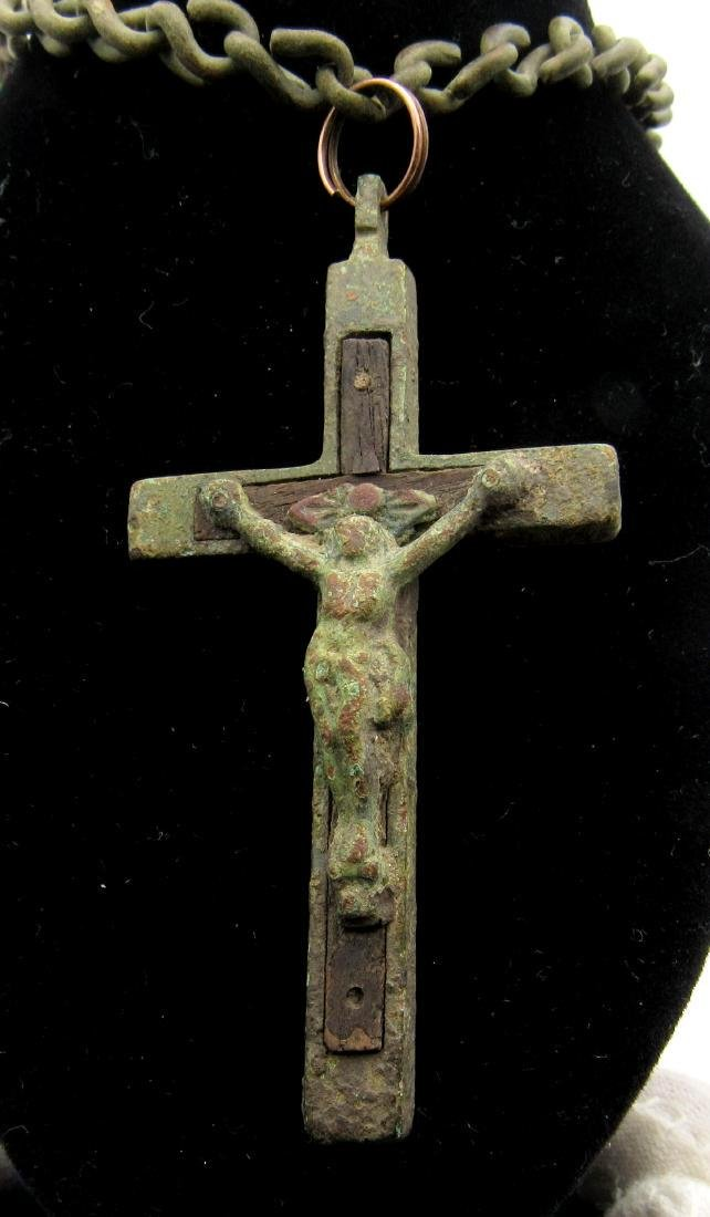 Post Medieval Crucifix with Original Wood and Chain