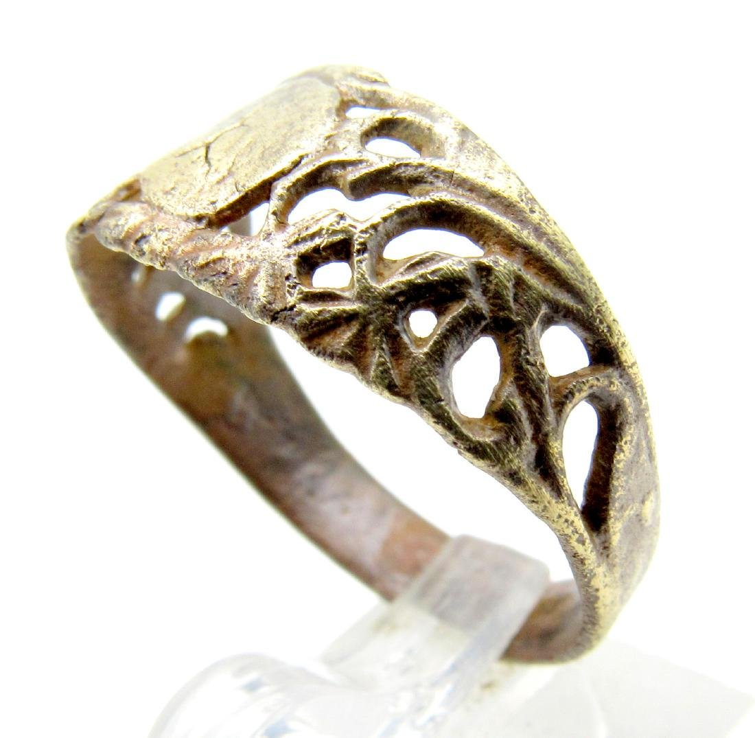 Tudor Wedding Ring with Open Work Design - 2