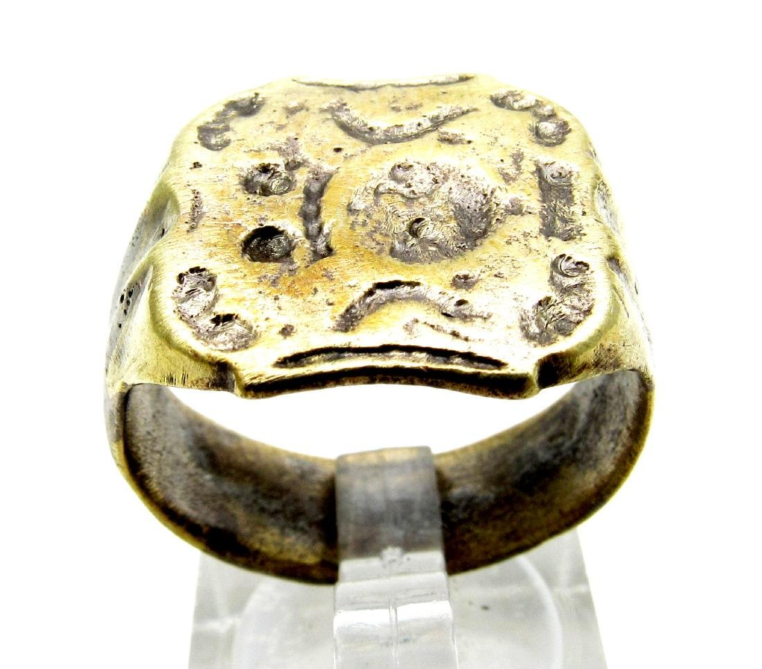 Medieval Heraldic Seal Ring With Coat of Arms