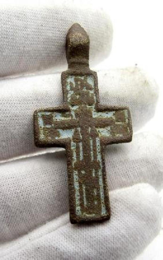 Late Medievalcross enameled pendant