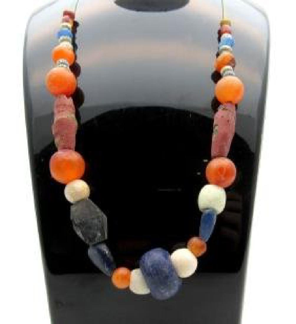 Medieval Viking glass and carnelian beaded necklace