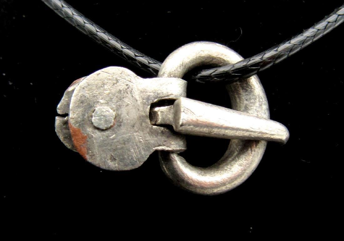 Medieval Viking Silver Belt Buckle Pendant