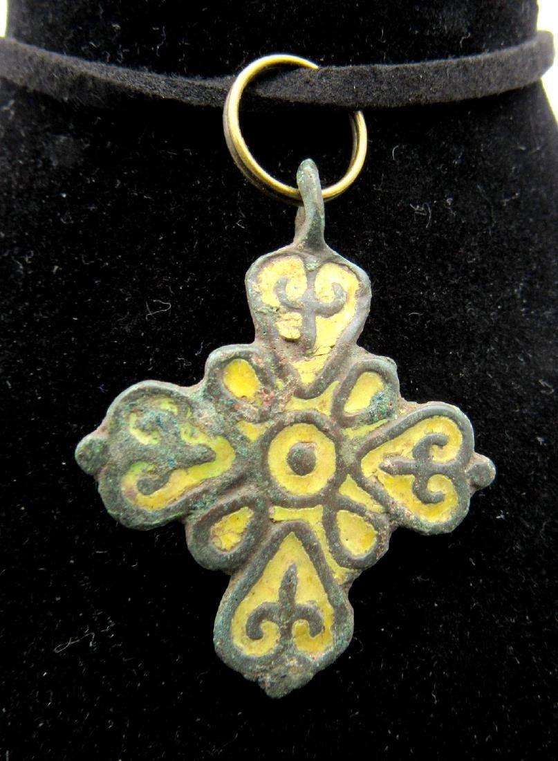 Medieval Viking Enameled Cross Pendant - 2