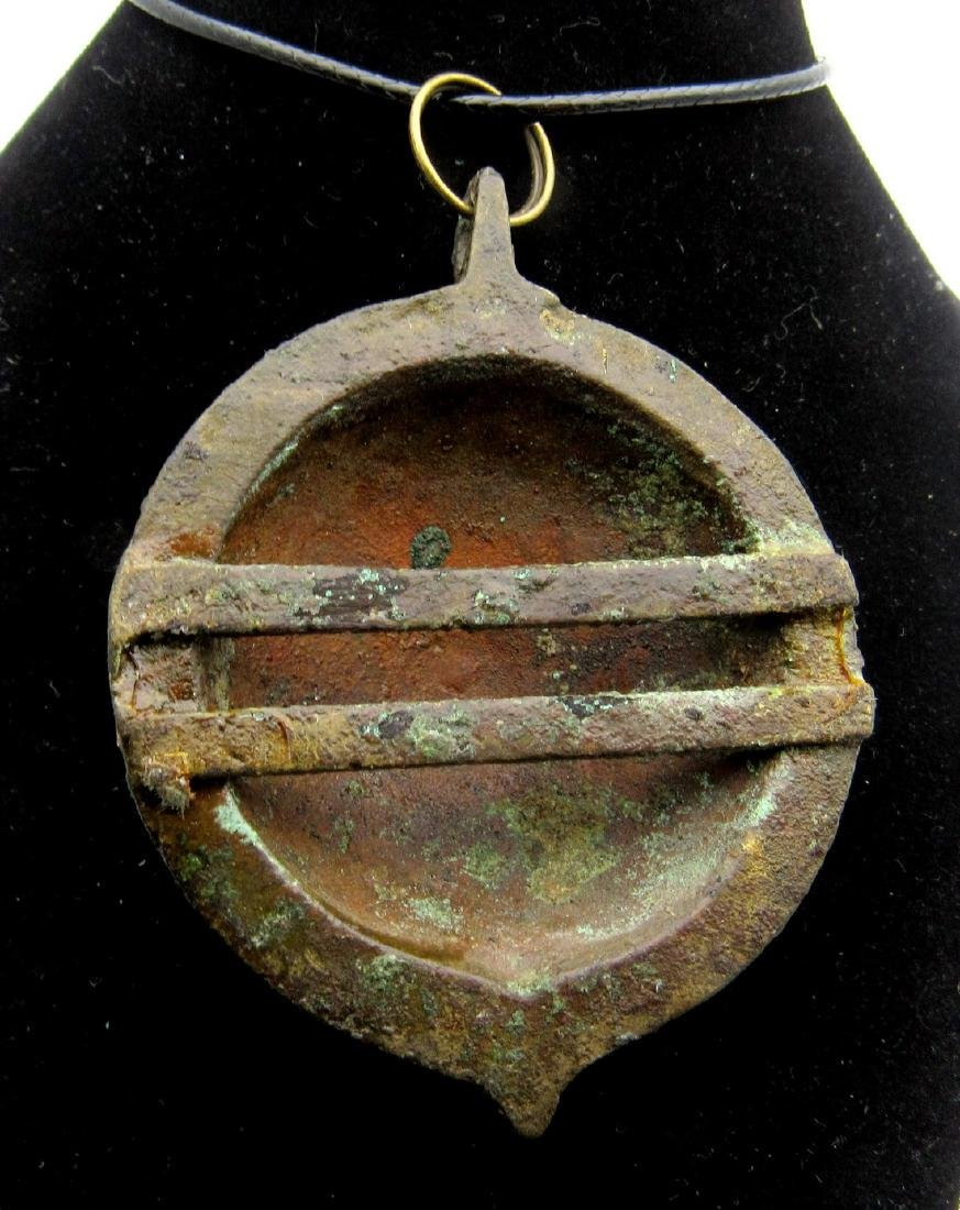 Ancient Roman Floral Shield Shaped Pendant - 2