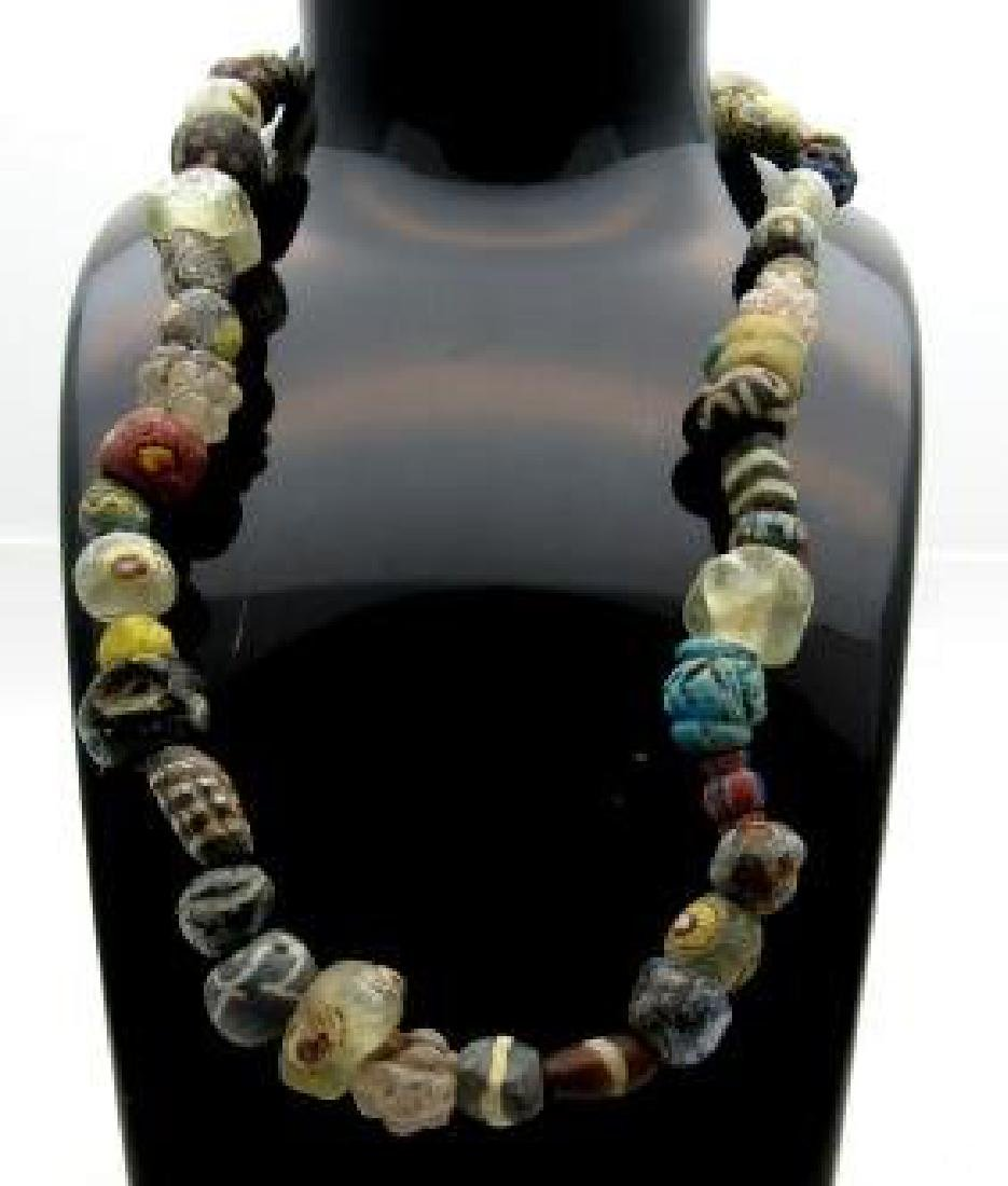 Ancient Roman millefiori mosaic beaded necklace