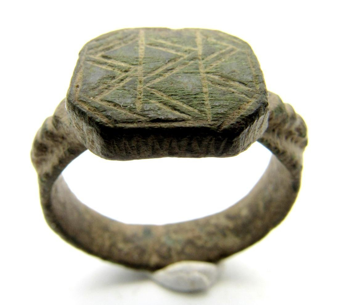 Viking Bronze Traveler's Ring Depicting Mountains