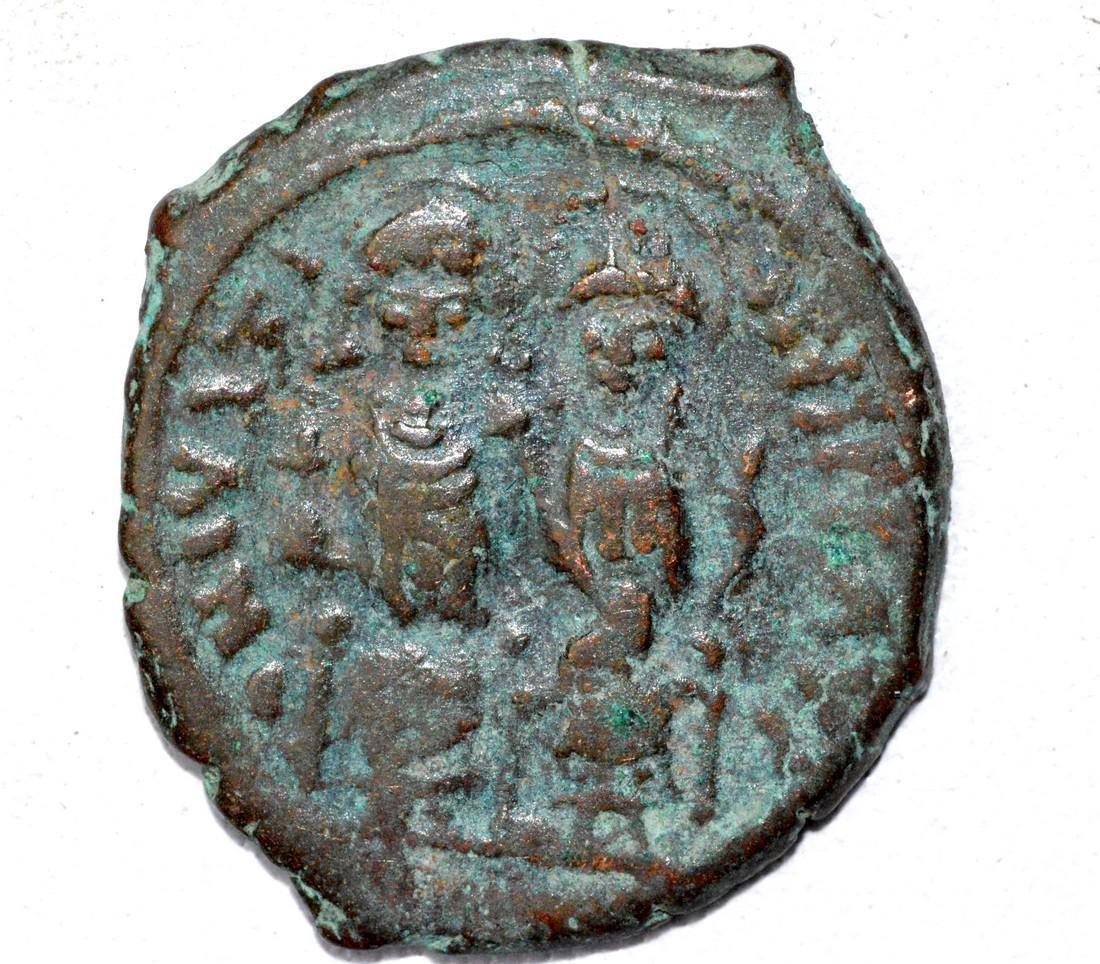 "Byzantine AE24 ""K"" Follis Coin"