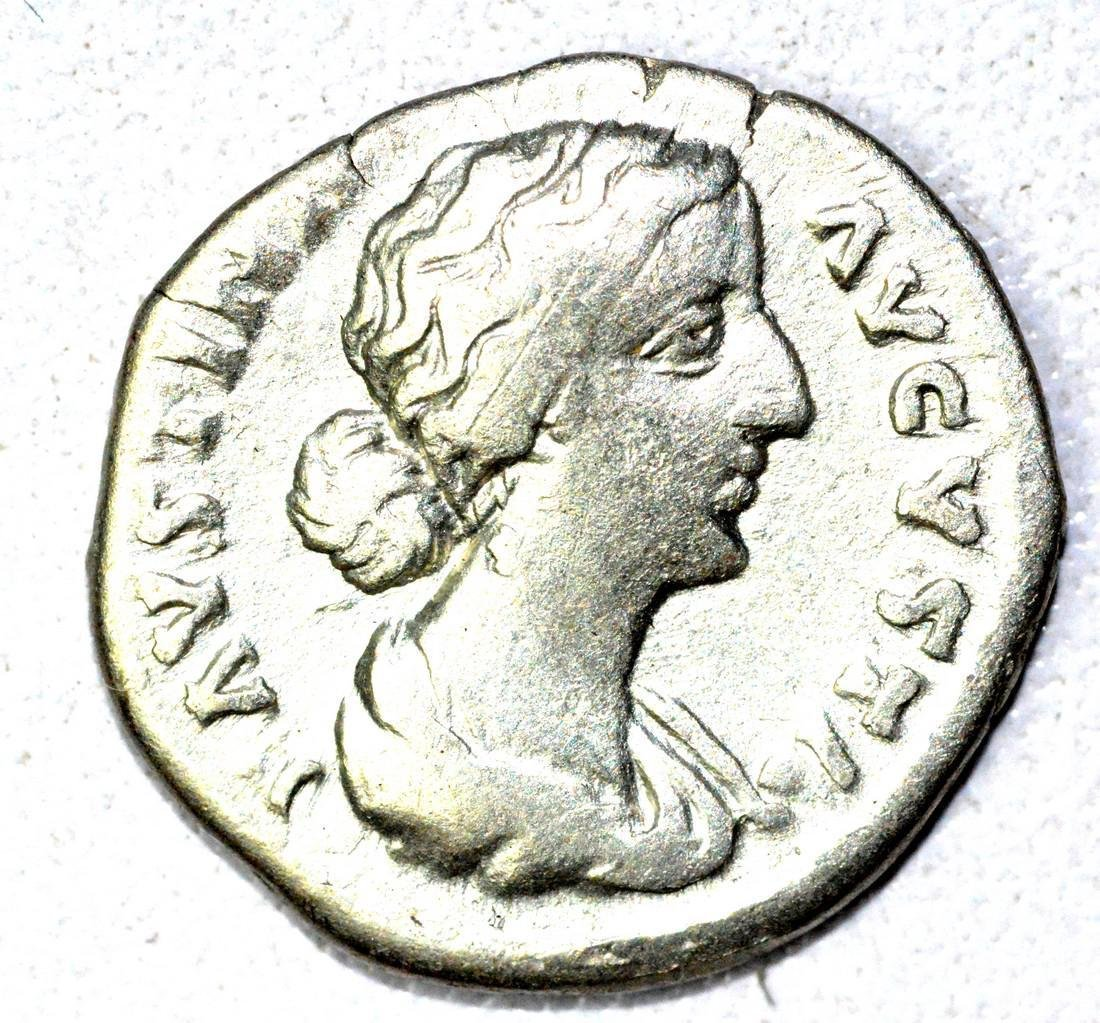 Roman AR Denarius of Faustina, rv. Juno
