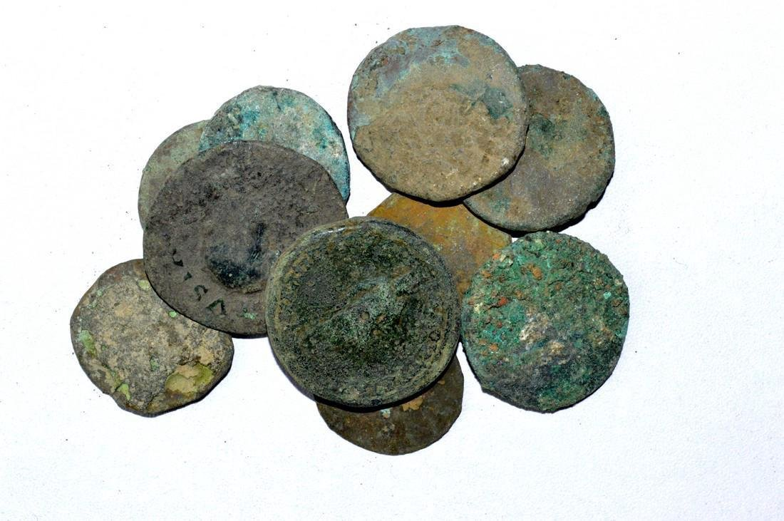 Lot of 10 Large Ancient Roman Coins for Cleaning