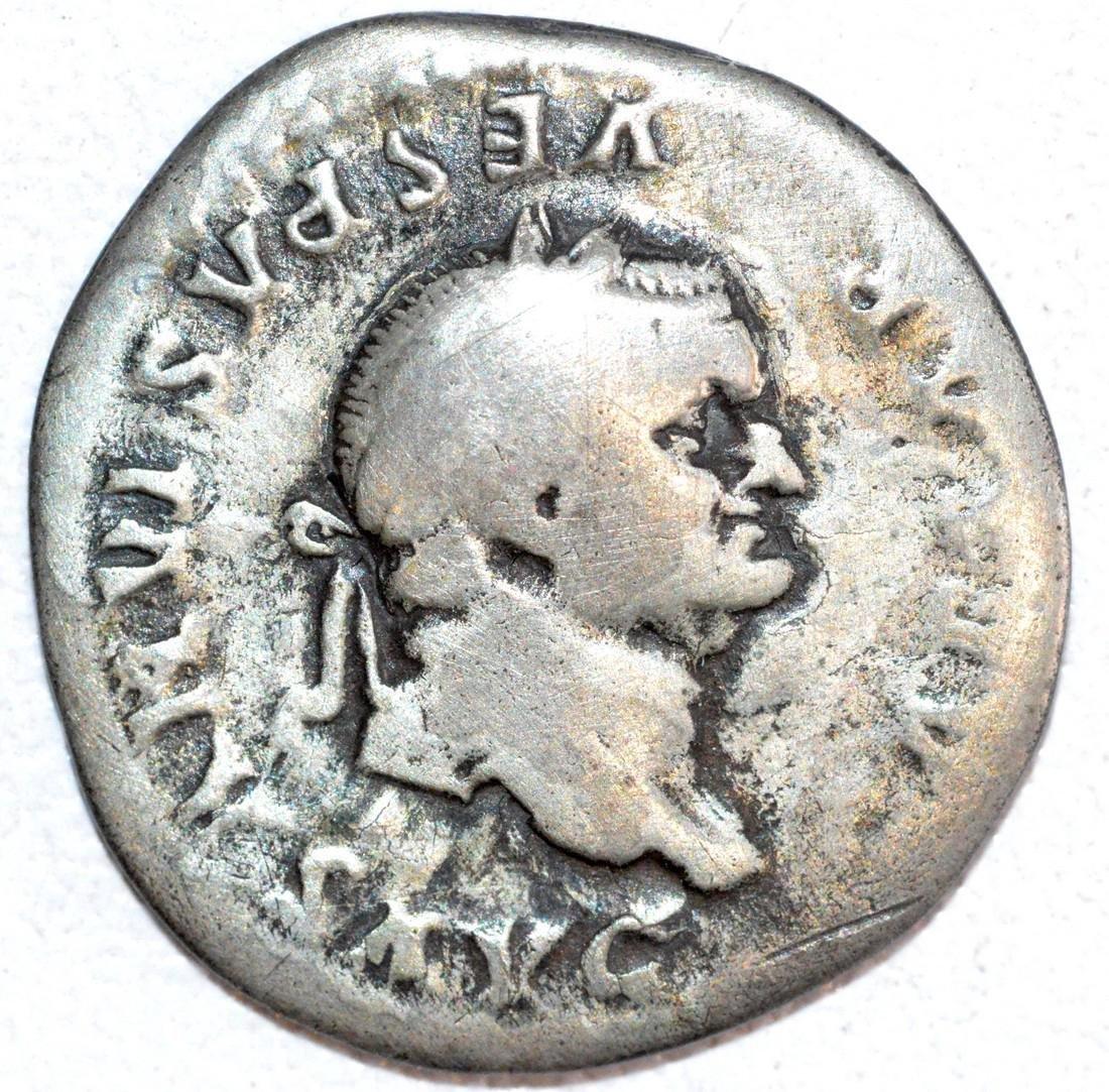 Ancient Roman Silver Denarius of Emperor Vespasian