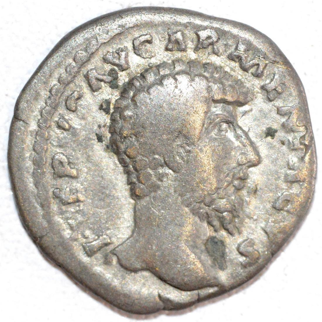 Ancient Roman Silver Denarius of Emperor Lucius Verus.