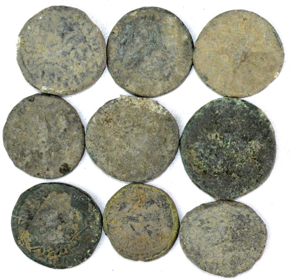 Lot of 9 Large Roman Coins for Cleaning