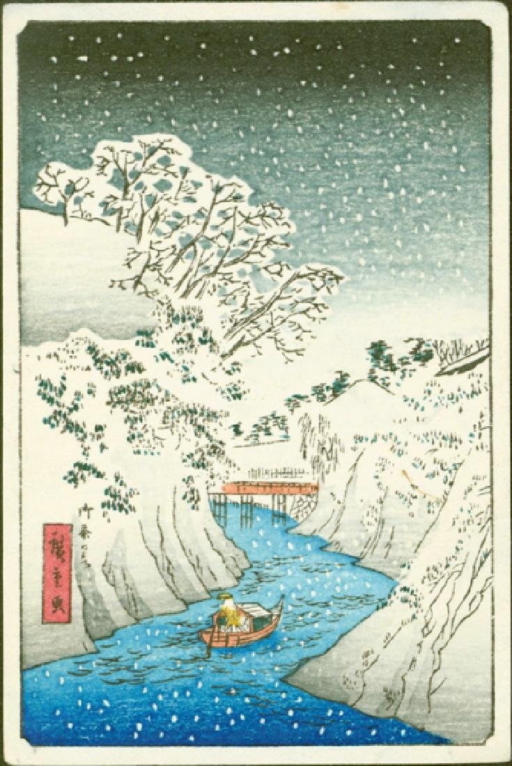 Ando Hiroshige Woodblock Boat on River in Snow