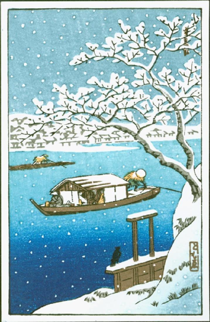 Tomoo Inagaki Woodblock Sumida River in Snow