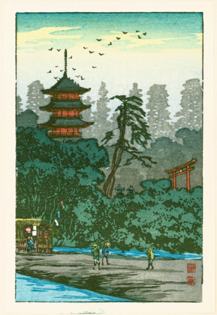 Takahashi Hiroaki Shotei Woodblock Shrine by the River