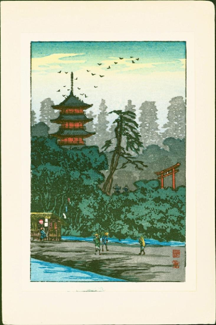 Takahashi Hiroaki Shotei Woodblock Shrine by the River - 2