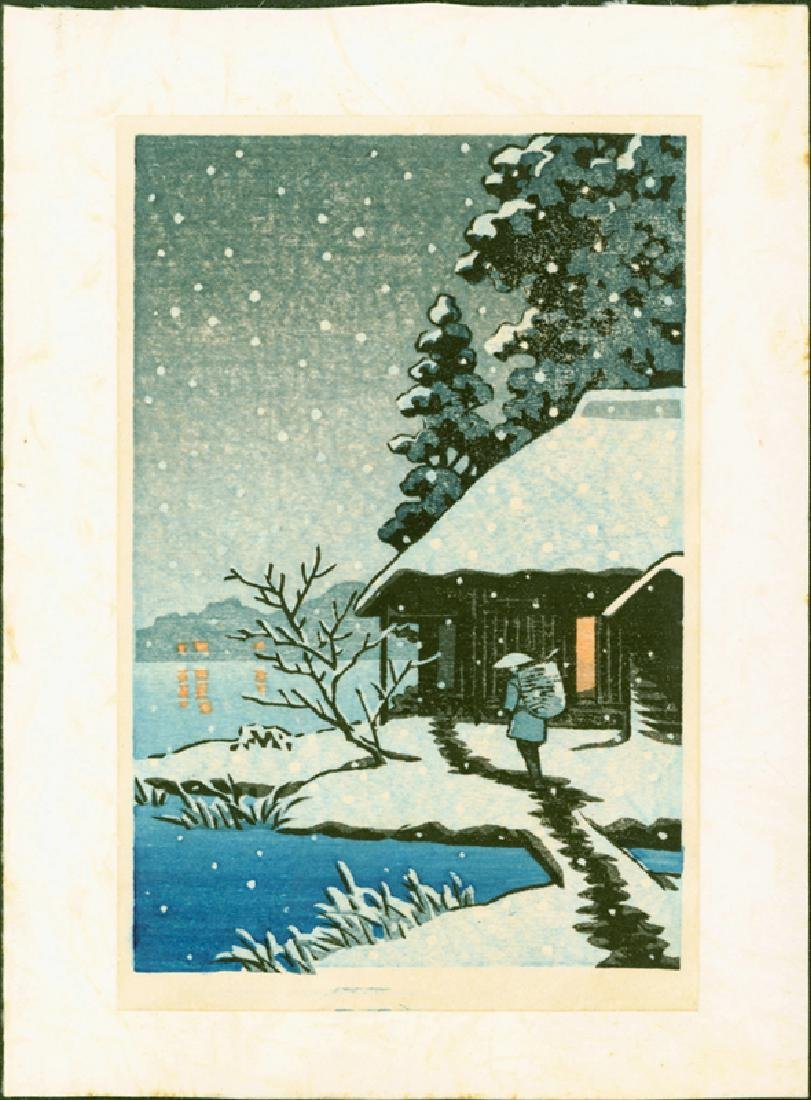 Unsigned Woodblock Cottage in Snow
