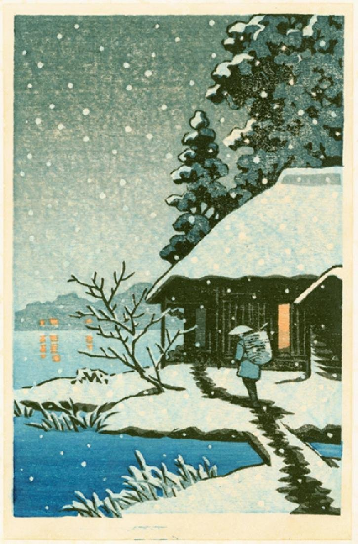 Unsigned Woodblock Cottage in Snow - 3