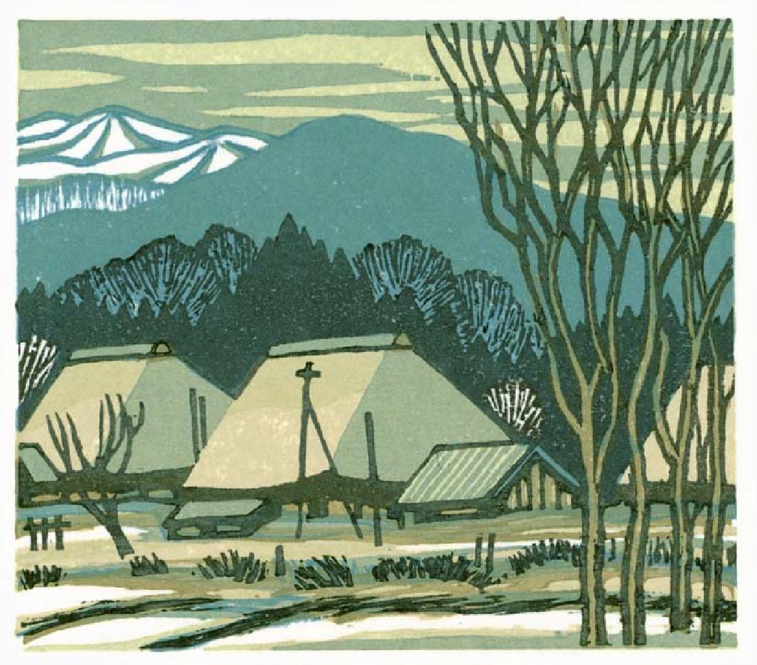 Masaya Watabe Woodblock Mountain Village