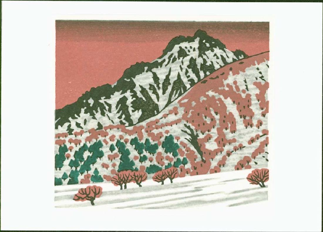 Masaya Watabe Woodblock Mountain Lake
