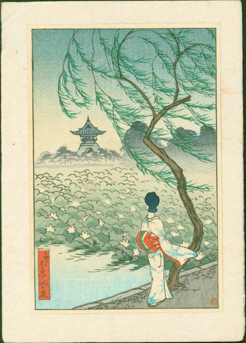 Unidentified Woodblock Geisha, Willow and Lotus Pond
