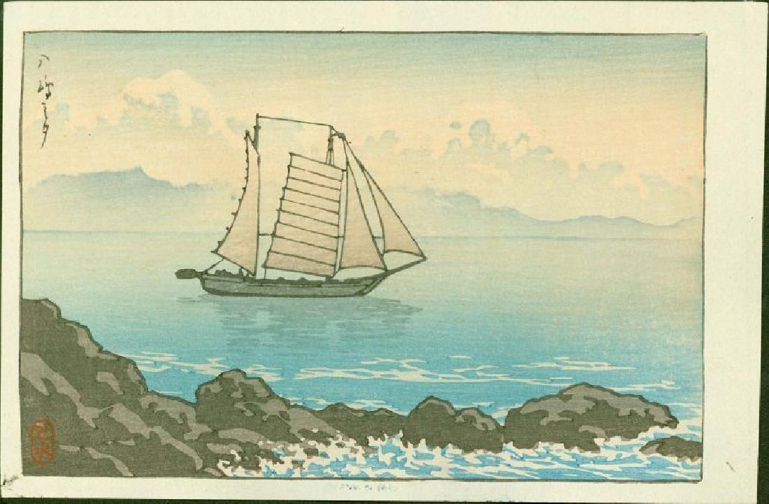 Kawase Hasui Woodblock Sailboat at Yashima