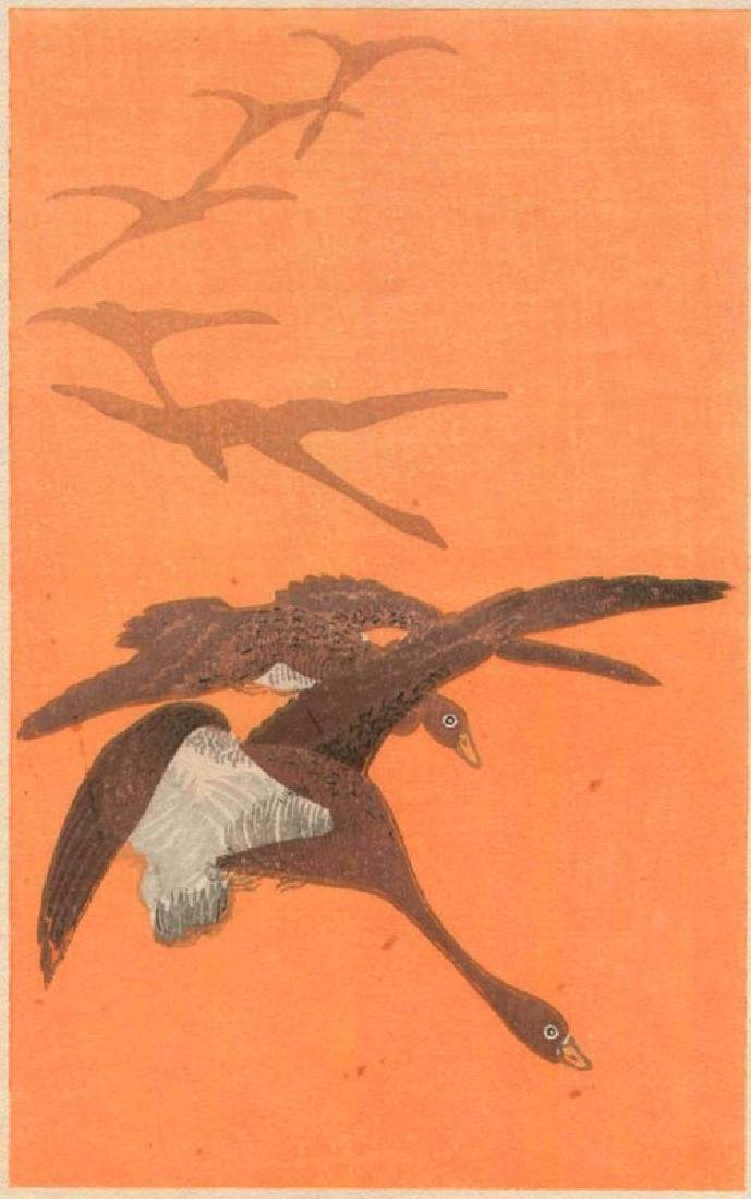 Unsigned Woodblock Geese in Flight