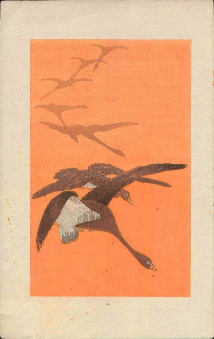 Unsigned Woodblock Geese in Flight - 2