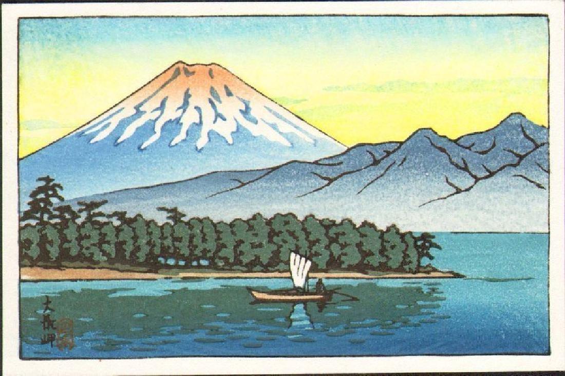 Kawase Hasui Woodblock Mt. Fuji with Sailboat