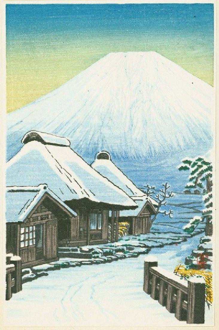 Shien Woodblock Fuji and Snowy Village