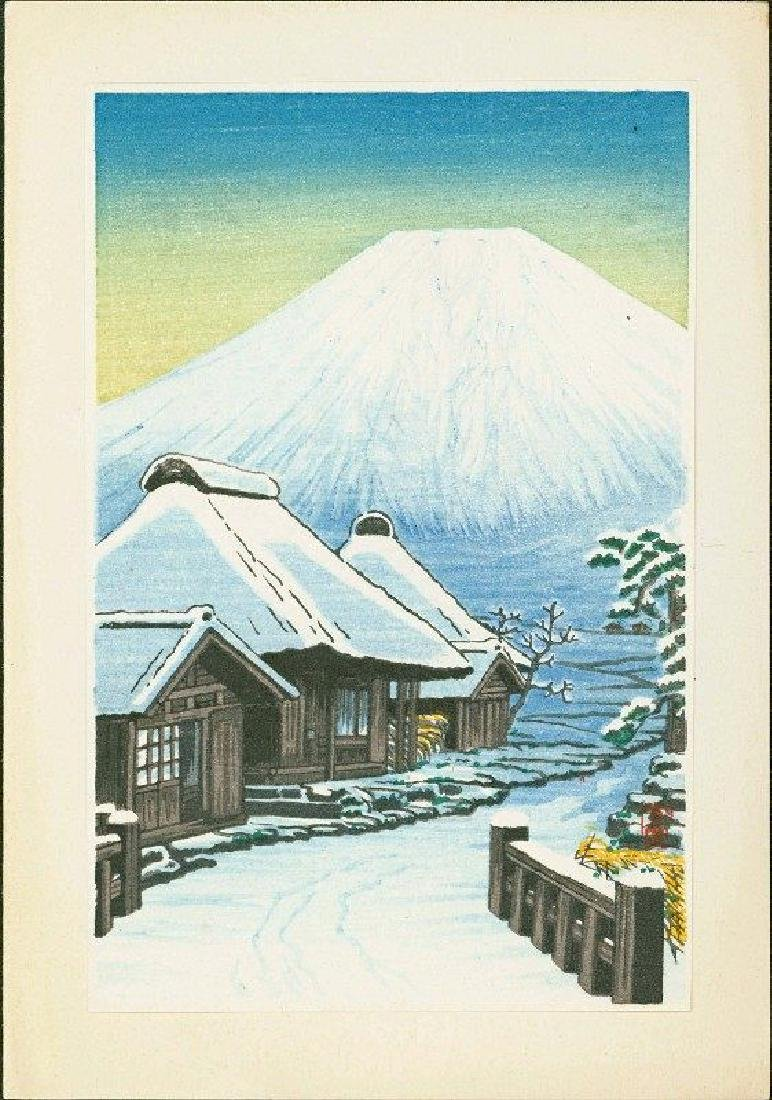 Shien Woodblock Fuji and Snowy Village - 2