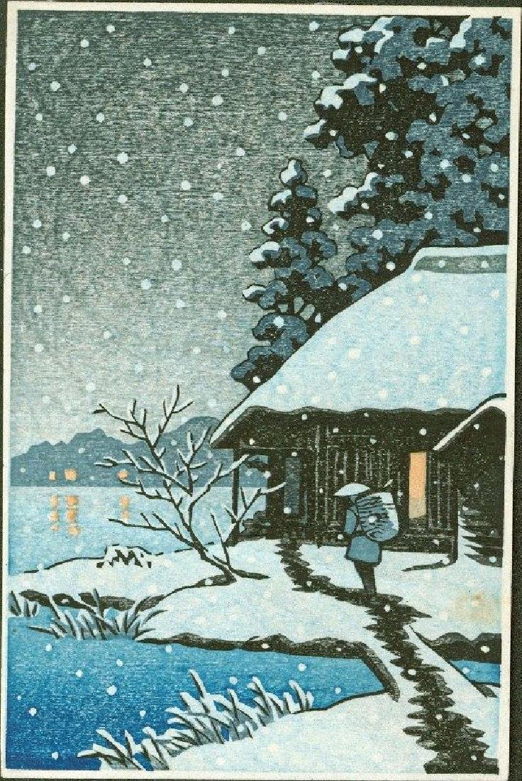 Unsigned Woodblock Snowy Cottage at Night