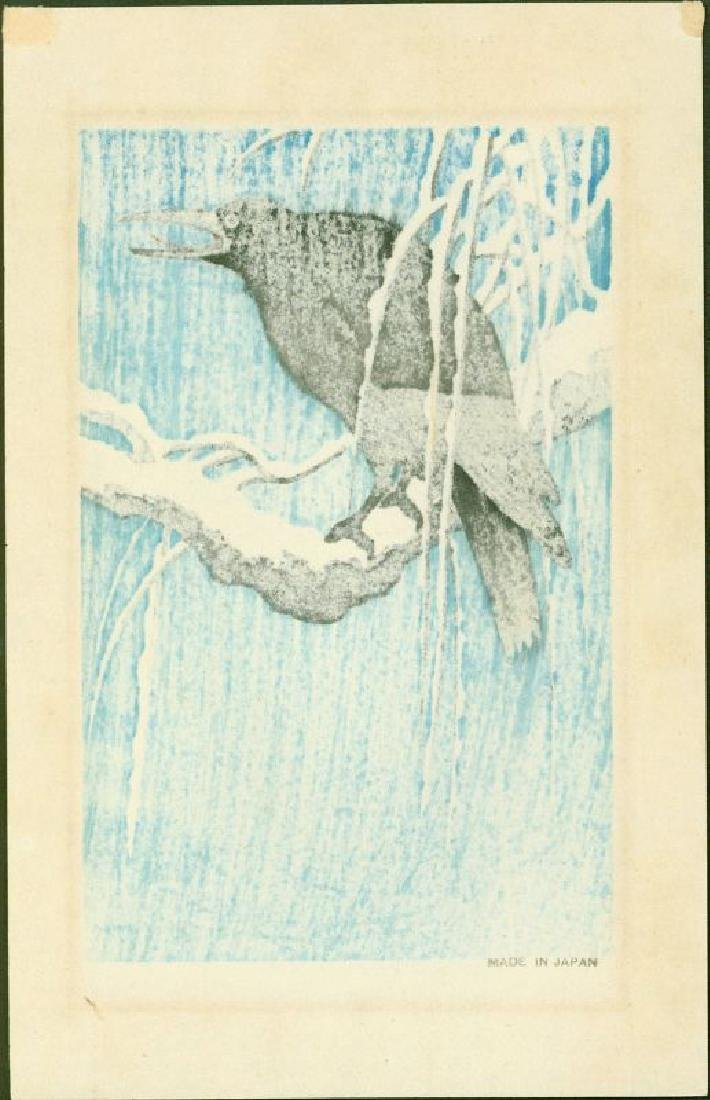 Ohara Koson Woodblock Crow on Snowy Bough Blue Version - 2