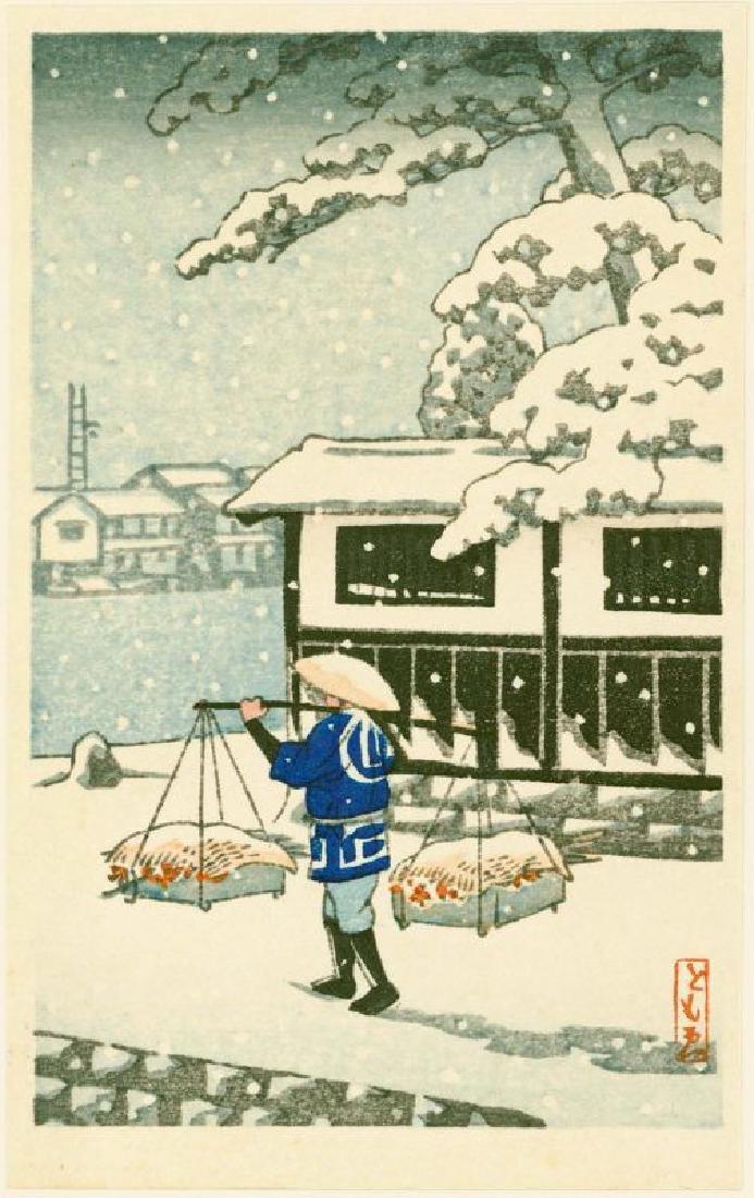 Tomoe Woodblock Peddler in Snow