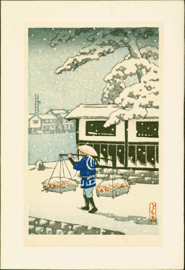 Tomoe Woodblock Peddler in Snow - 2