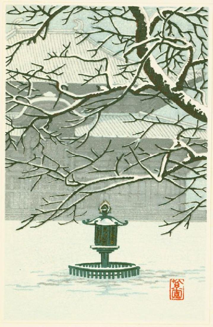 Shien Woodblock Temple and Lantern in Snow