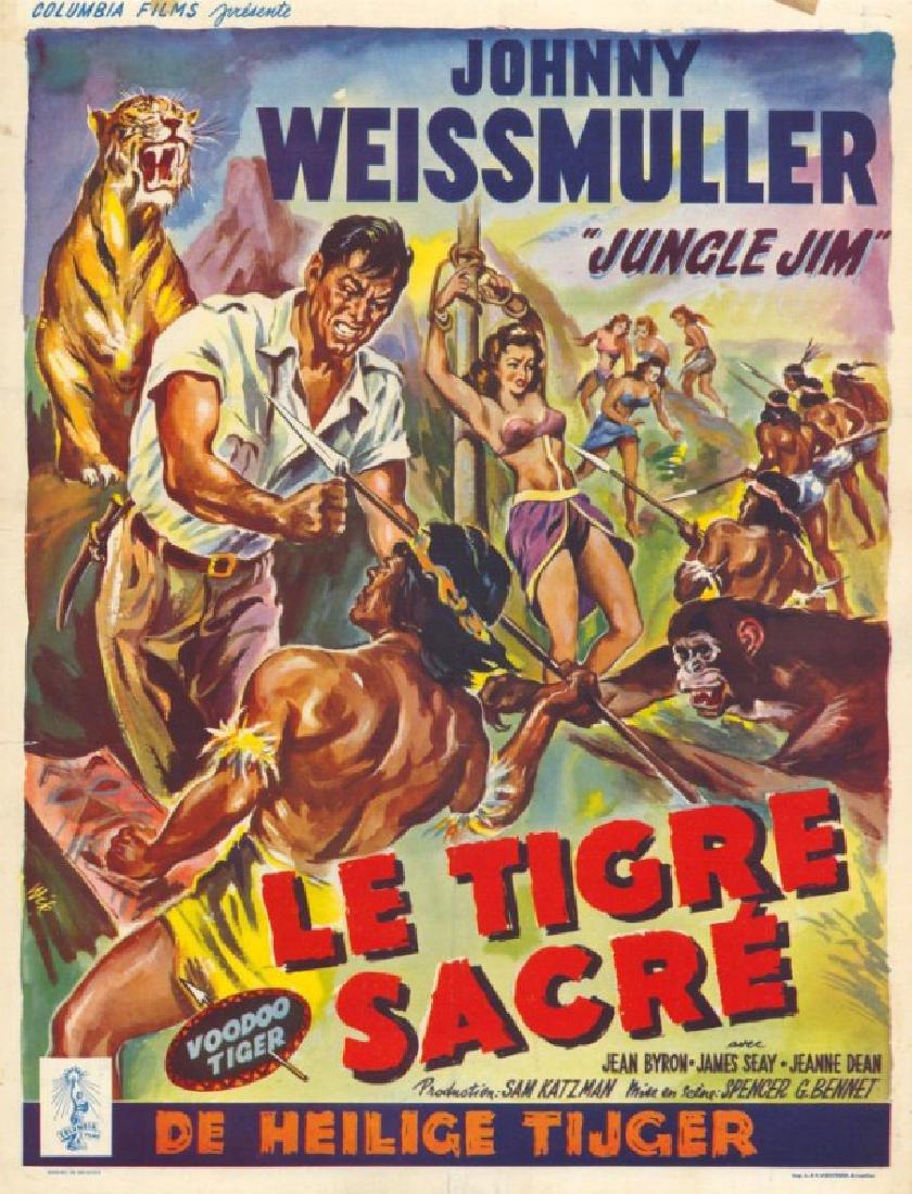 Movie poster - VOODOO TIGER -Johny WEISSMULLER - 1952