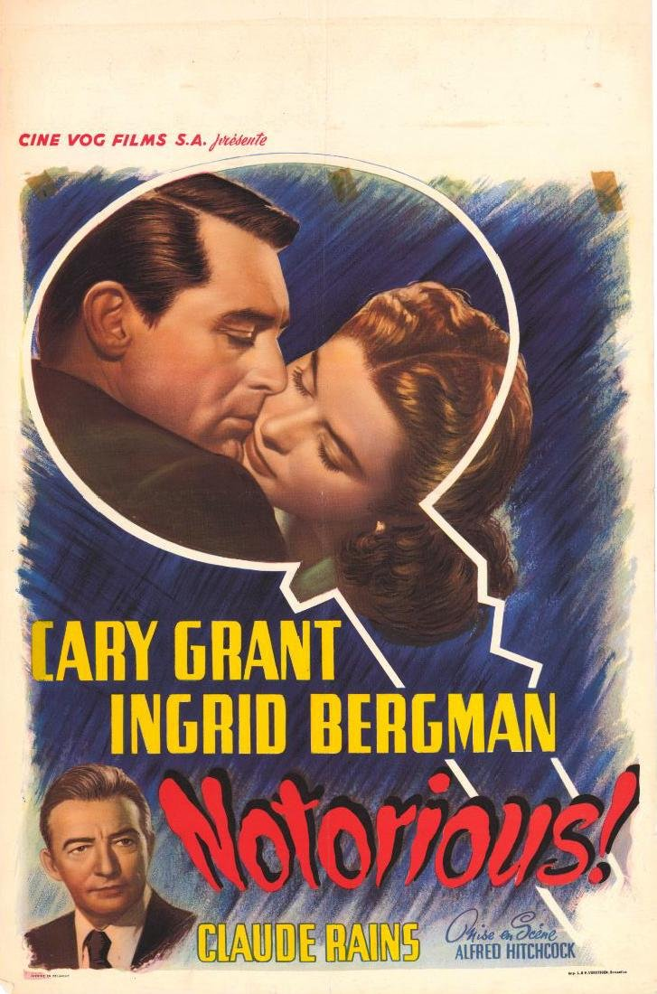 Movie poster - NOTORIOUS - Alfred HITCHCOCK - 1946