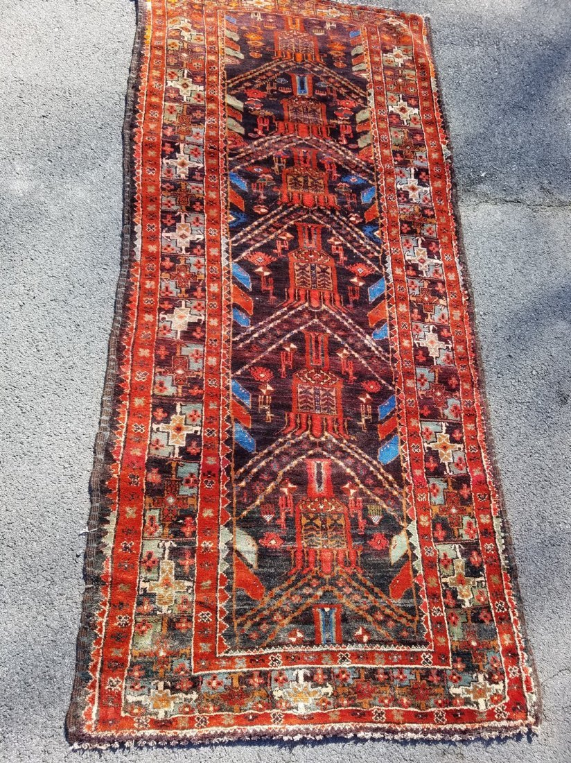 Antique Persian Tribal, With Primitive Motif Rug