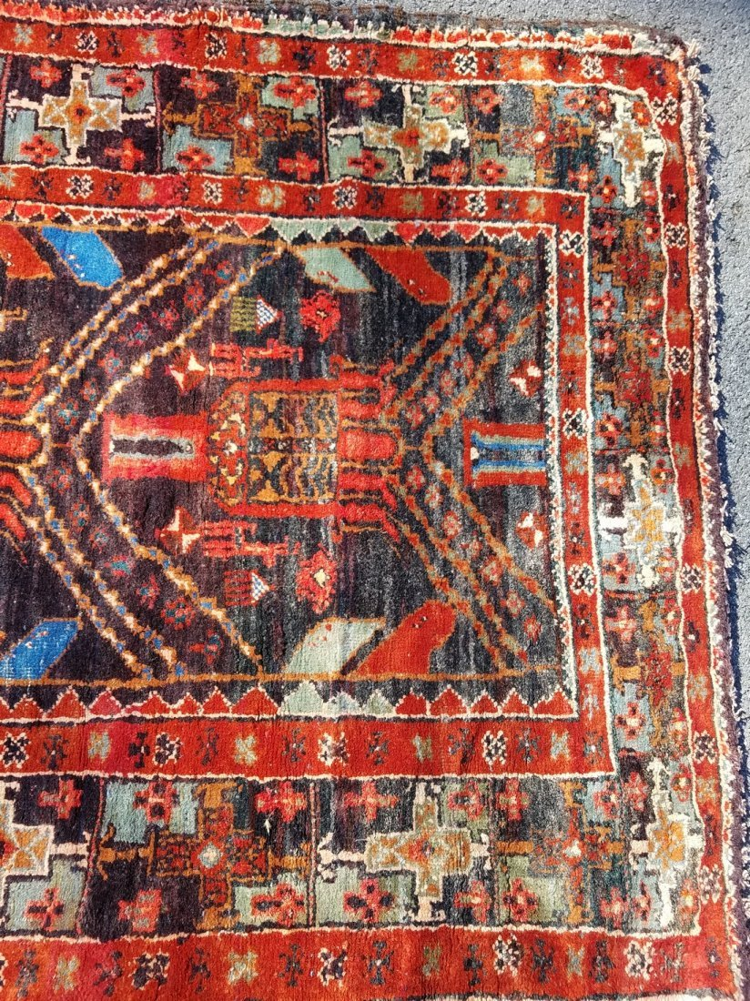 Antique Persian Tribal, With Primitive Motif Rug - 5