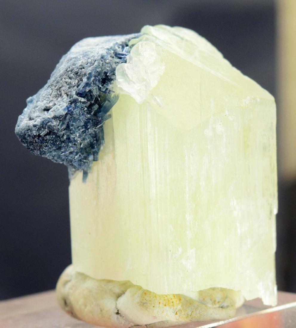 Terminated Natural Kunzite with Blue Tourmaline - 4