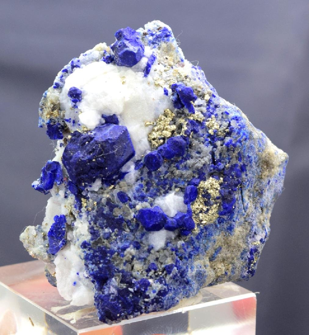 Royal Blue Lazurite Specimen with Golden Pyrite