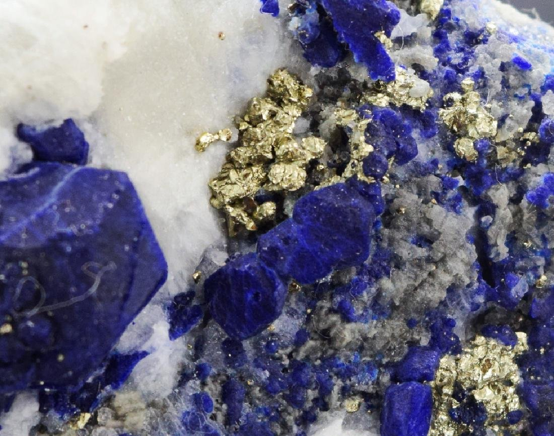 Royal Blue Lazurite Specimen with Golden Pyrite - 2