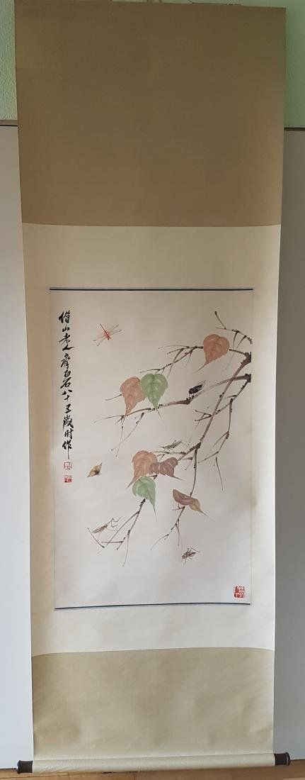 A Chinese Scroll Painting on paper QI BAISHI