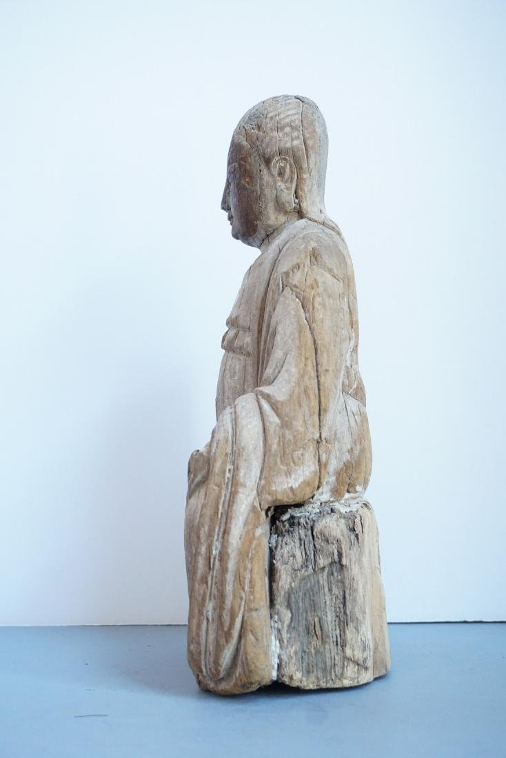 Antique Chinese Wooden Shrine Figure - 2